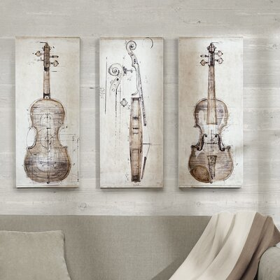 'Violin Study' 3 Piece Graphic Art on Canvas Set