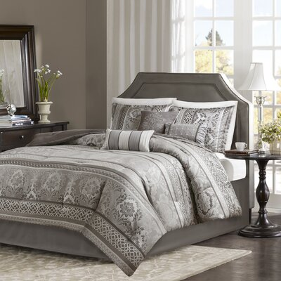 Bartle Jacquard 7 Piece Comforter Set Size: California  King