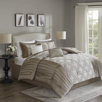 Gwendoline 7 Piece Comforter Set Size: Cal King, Color: Taupe