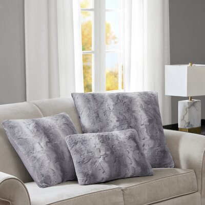 Atkins Faux Fur Euro Pillow Color: Grey