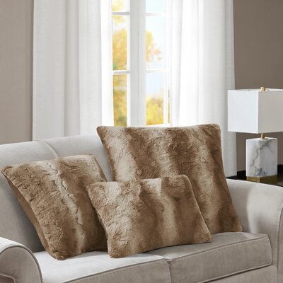 Atkins Faux Fur Throw Pillow Color: Sand