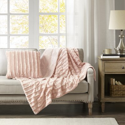 Bolland Faux Fur Throw Pillow Color: Blush