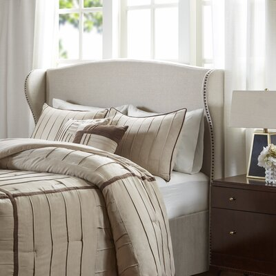 Patchell Upholstered Wingback Headboard Size: King, Color: Beige