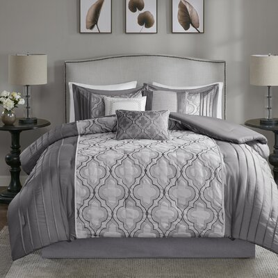 Gwendoline 7 Piece Comforter Set Size: Queen, Color: Silver