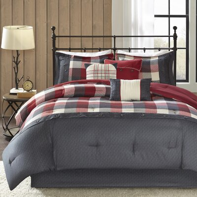 King City 7 Piece Comforter Set Size: King, Color: Red