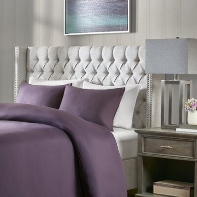 Candice Upholstered Wingback Headboard Size: Queen, Upholstery: Grey