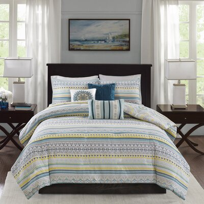 Thatcher Cotton 6 Piece Reversible Duvet Cover Set Size: Full/Queen