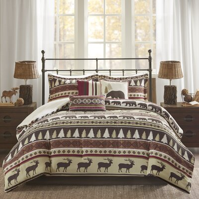 Daphne 7 Piece Herringbone Comforter Set Size: King, Color: Red