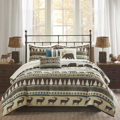 Daphne 7 Piece Herringbone Comforter Set Size: King, Color: Teal