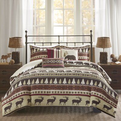 Daphne 6 Piece Herringbone Duvet Cover Set Size: Full/Queen, Color: Red