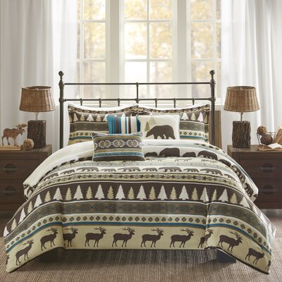 Daphne 6 Piece Herringbone Duvet Cover Set Size: Full/Queen, Color: Teal