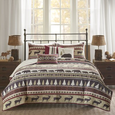 Daphne 6 Piece Herringbone Coverlet Set Size: Full/Queen, Color: Red