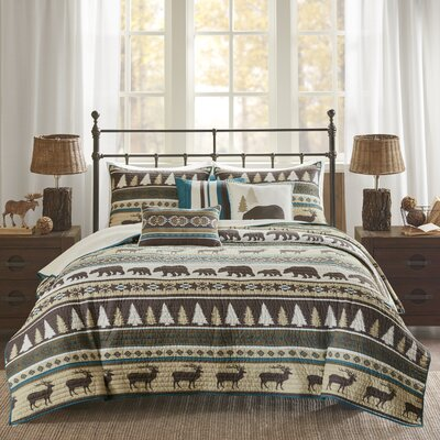 Daphne 6 Piece Herringbone Coverlet Set Size: Full/Queen, Color: Teal