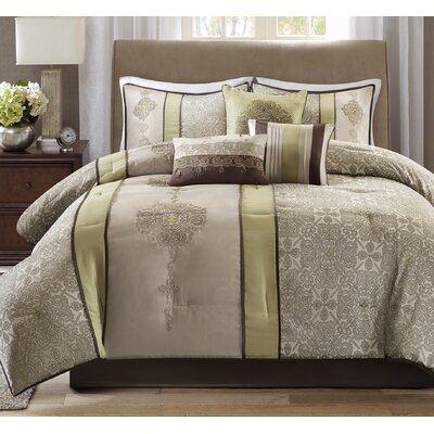 Elise 7 Piece Comforter Set Size: Queen, Color: Green