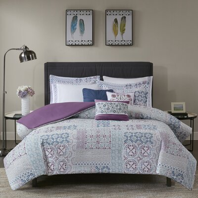 Mechelle 8 Piece Cotton Percale Duvet Cover Set Size: Full/Queen