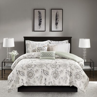 McArthur 8 Piece Cotton Sateen Duvet Cover Set Size: Full/Queen