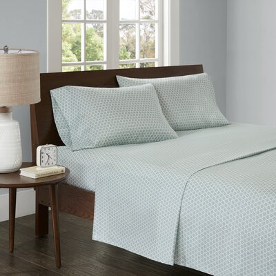Crane 3M Microcell Printed Sheet Set Size: King, Color: Aqua