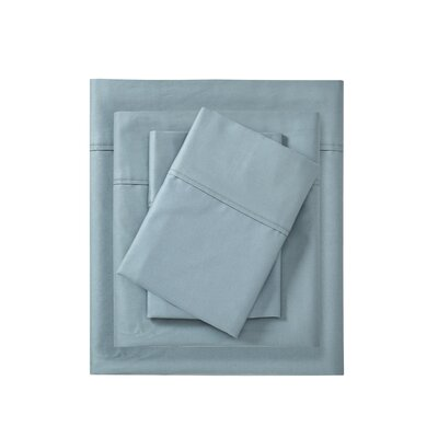 Cornelio 600 Thread Count 100% Cotton 4 Piece Sheet Set Size: California King, Color: Blue