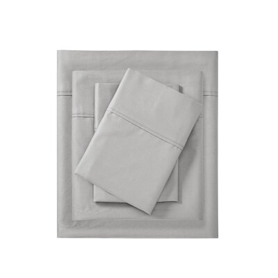 Cornelio 600 Thread Count 100% Cotton 4 Piece Sheet Set Size: California King, Color: Light Gray