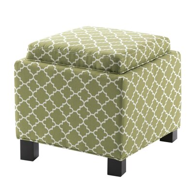 Hernandes Square Storage Ottoman with Pillow Upholstery : Light Green
