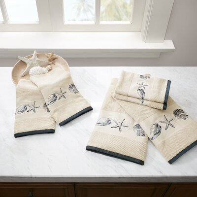 Embroidered Cotton Jacquard 6 Piece Towel Set