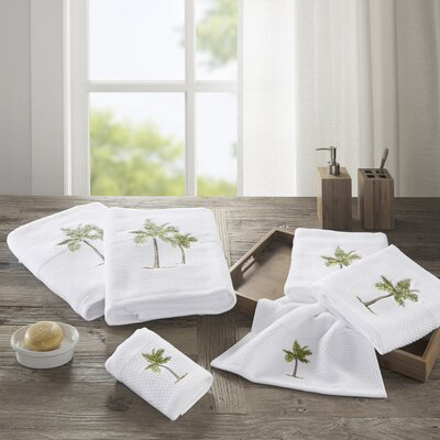 Palm Embroidered Cotton 6 Piece Towel Set