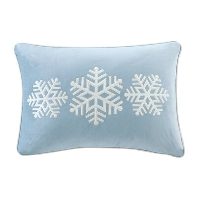 Blaser Snowflake Velvet Trio Embroidered Lumbar Pillow Color: Blue