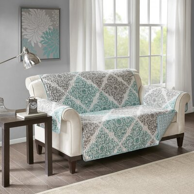 Floral Cotton Printed Reversible Box Cushion Loveseat Slipcover Upholstery: Microfiber Leaf Green