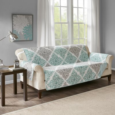 Floral Cotton Printed Reversible Box Cushion Sofa Slipcover Upholstery: Microfiber Leaf Green