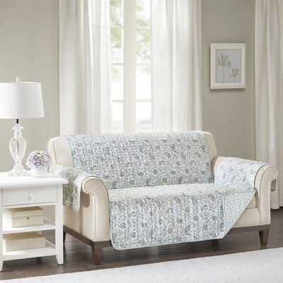 Floral Cotton Printed Reversible Box Cushion Loveseat Slipcover Upholstery: Cotton Floral Blue