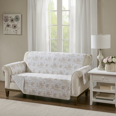 Floral Cotton Printed Reversible Box Cushion Loveseat Slipcover Upholstery: Cotton Rose Pink