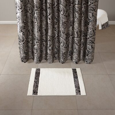Pokanoket Polyester Tufted Bath Rug Size: 21 x 34, Color: Black/Ivory