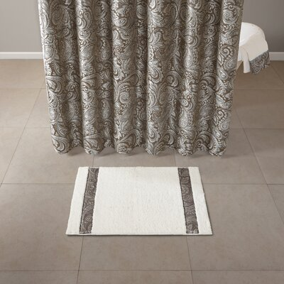 Pokanoket Polyester Tufted Bath Rug Size: 21 x 34, Color: Blue/Ivory