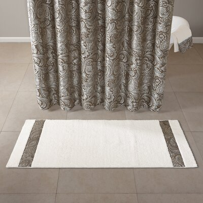 Pokanoket Polyester Tufted Bath Rug Size: 24 x 60, Color: Blue/Ivory