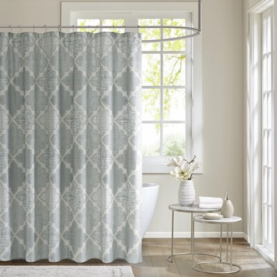 Harding Cotton Sateen Shower Curtain Color: Aqua