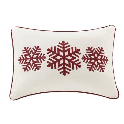 Blaser Snowflake Velvet Trio Embroidered Lumbar Pillow Color: Ivory