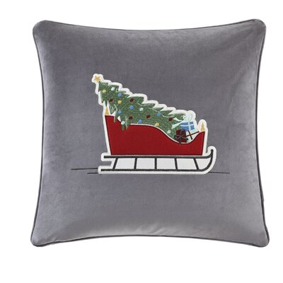 Vandyne Holiday Sleigh Ride Embroidered Throw Pillow