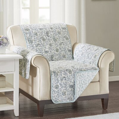 Floral Cotton Printed Reversible Box Cushion Armchair Slipcover Upholstery: Cotton Floral Blue