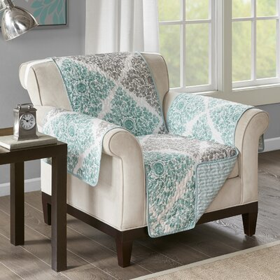 Floral Cotton Printed Reversible Box Cushion Armchair Slipcover Upholstery: Microfiber Leaf Green