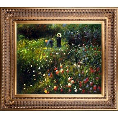 Woman with a Parasol in a Garden (Frau mi Sonnenschirm) by Pierre-Auguste Renoir Framed Painting Print RN2694-FR-655G20X24