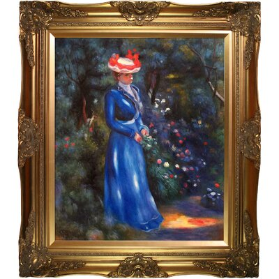 Woman in a Blue Dress, Standing in the Garden of St. Cloud by Pierre-Auguste Renoir Framed Painting Print RN5704-FR-6996G20X24