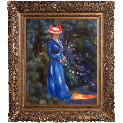 Woman in a Blue Dress, Standing in the Garden of St. Cloud by Pierre-Auguste Renoir Framed Painting Print RN5704-FR-256G20X24