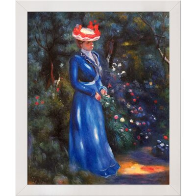 Woman in a Blue Dress, Standing in the Garden of St. Cloud by Pierre-Auguste Renoir Framed Painting Print RN5704-FR-994420X24