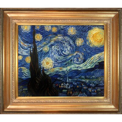 'Starry Night' by Vincent Van Gogh Framed Painting Print on Wrapped Canvas VGG485-FR-446G20X24