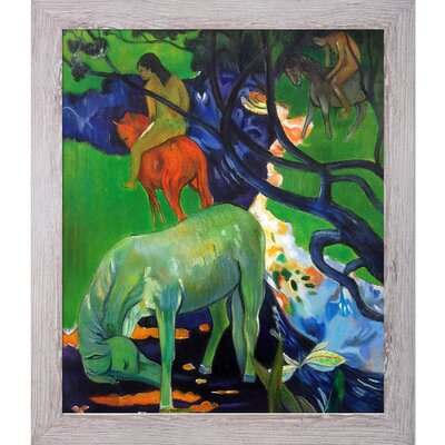 'El Caballo Blanco (The White Horse), 1898' by Paul Gauguin Framed Painting on Canvas