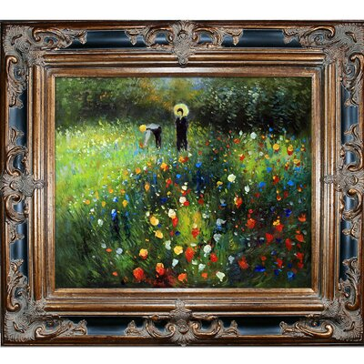 'Woman with a Parasol in a Garden' by Pierre-Auguste Renoir Framed Original Painting RN2694-FR-620BP20X24
