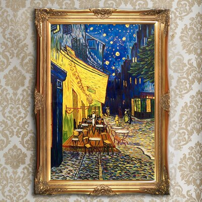 'Cafe Terrace at Night Metallic Embellished' by Vincent Van Gogh Framed Oil Painting Print on Canvas