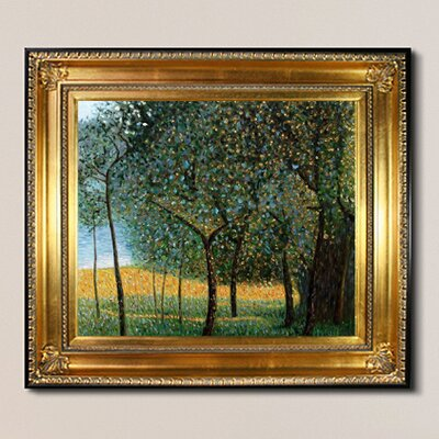 'Fruit Trees, 1901 Metallic Embellished' by Gustav Klimt Framed Oil Painting Print on Canvas