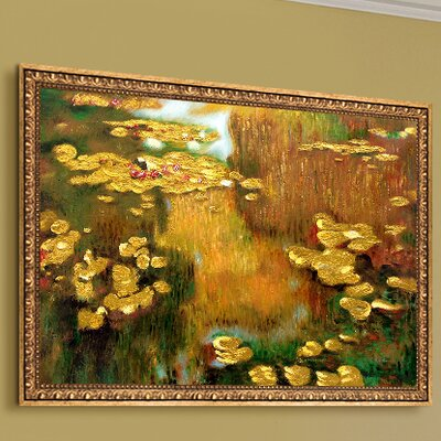 'Water Lilies Metallic Embellished' by Claude Monet Framed Oil Painting Print on Canvas