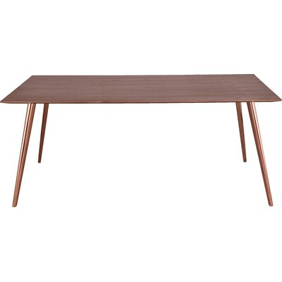 Airfoil Dining Table Base Finish: Copper, Top Finish: American Ash